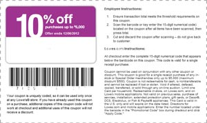 image about Lowes 10% Printable Coupon named Printable Lowes 10% off coupon codes emailed