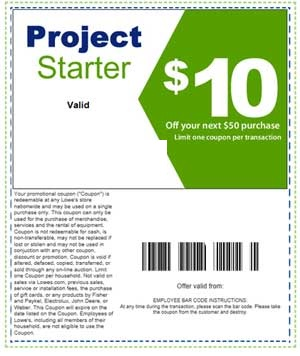 Printable home improvement Lowes $10 off $50 coupons
